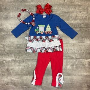 Girls ruffled Christmas train appliqué outfit